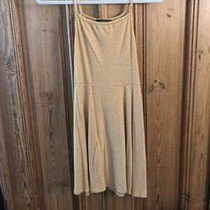 Mustard and White striped mini dress